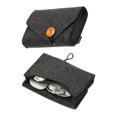 TRAVEL FELT POUCH POWER BANK STORAGE BAG DATA CABLE ORGANIZER KEY COIN PACKAGEZP