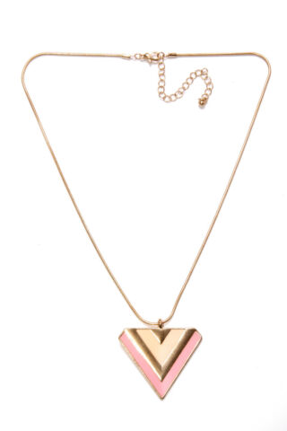 BEAUTIFUL CHIC LADIES SKINNY NECKLACE PEACH BLUSH PINK GOLD FRONT TRIANGLE T350