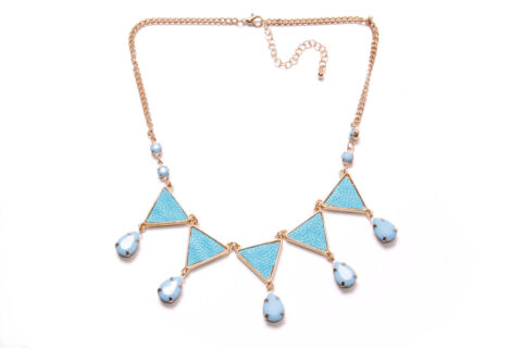STYLISH LADIES CHAIN NECKLACE W CERULEAN BLUE TRIANGLES SKY BLUE BEADS T350