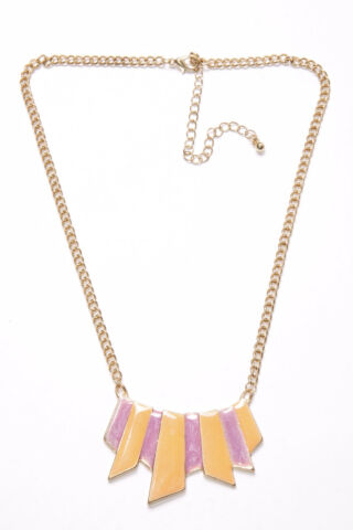 GORGEOUS WOMEN GOLD CHAIN NECKLACE W ORANGE PURPLE PLATE ORNAMENTS T350