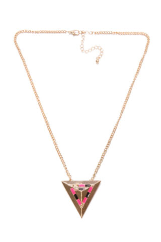 STYLISH LADIES ACCESSORY GOLD NECKLACE FUTURISTIC PINK BLACK GOLD DETAIL T350