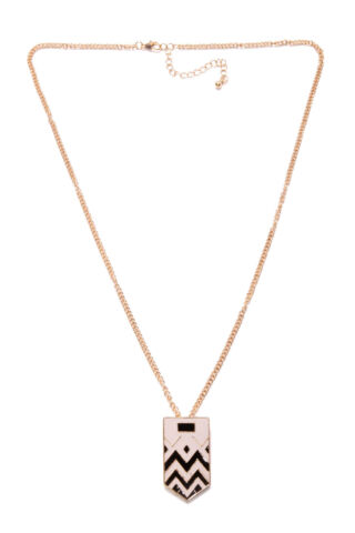 GREAT LOOK UNISEX GOLD NECKLACE W GREY BLACK PATTERNED FRONT PLATE T350