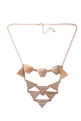 STYLISH LOOK GOLD CHAIN COLLAR NECKLACE W SIMPLE MODERN TRIANGULAR PLATES T350