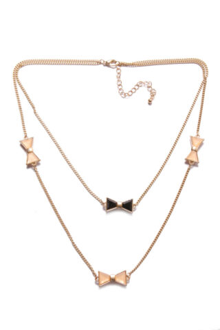 AMAZING TWO ROWS GOLD NECKLACE W CUTE GIRLY BLACK PEACH SMALL METAL BOWS T350
