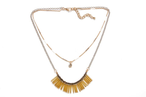 BEAUTIFUL LADIES TWO ROWS GOLD SILVER NECKLACE W YELLOW SMALL OBLONG BEADS T358