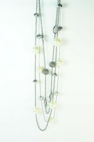 AMAZING LADIES MULTI CHAIN LONG STATEMENT NECKLACE W LARGE PEARLS