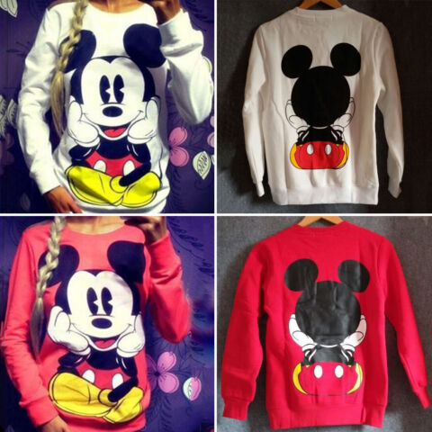 DAMEN MICKEY MOUSE PULLOVER SWEATSHIRT TOPS LANGARM SWEATER PULLI BLUSE JUMPER