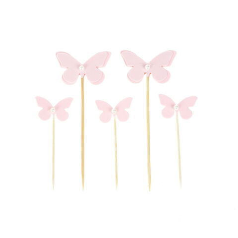 5PCS PINK BUTTERFLY WITH PEARL CUPCAKE TOPPERS CAKE PICKS BIRTHDAY PARTY DECO ZP