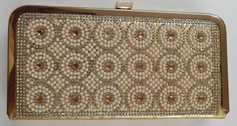 WOMENS LADIES GOLD CLUTCH WHITE PEARL WITH GOLDEN STONE CLASSY PURSE