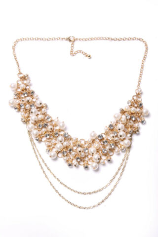 BEAUTIFUL LADIES OPERA NECKLACE GOLD COLOUR W MULTIPLE PEARL WHITE BEADS T491