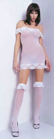 MINI KLEID STR MPFE WEI TRANSPARENT LEG AVENUE