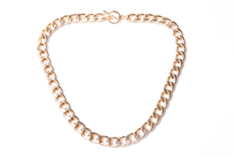GREAT STYLE SIMPLE CASUAL GOLD COLOUR METAL NECKLACE FOR MOST OCCASIONS T506