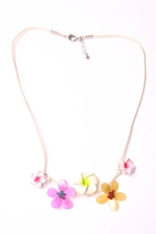 SPRING GIRL SKINNY STRING NECKLACE W CUTE PINKISH YELLOW FLOWERS IN FRONT T506