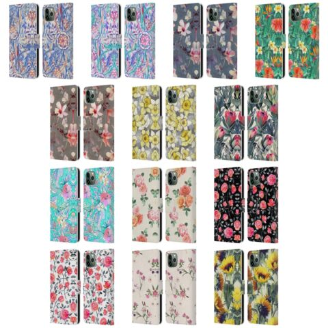 OFFICIAL MICKLYN LE FEUVRE FLORALS LEATHER BOOK CASE FOR APPLE IPHONE PHONES