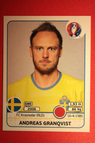 PANINI STICKERS EURO 2016 N 552 GRANQVIST SWEDEN TOP MINT