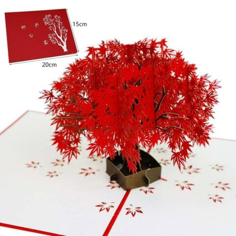 3D CIDUOUS RED MAPLE ROMANTISCHE EINZIGARTIGE UP CARD SIGNIERT CARD GRUSSKARTE