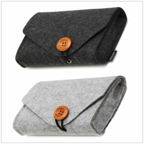 MINI FELT POUCH POWER BANK STORAGE BAG FOR USB DATA CABLE MOUSE TRAVEL ORGANIZER
