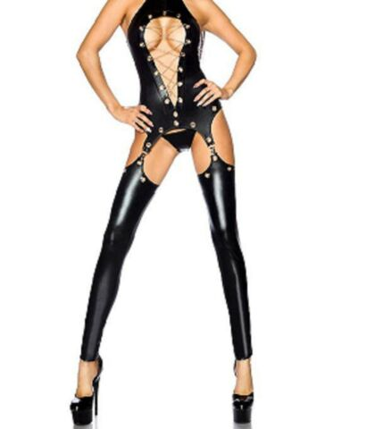 LATEX FAUX LOOK CATSUIT WITH LEGGINGS ATTACHED HELD UP BY SUSPENDERS CHAINS