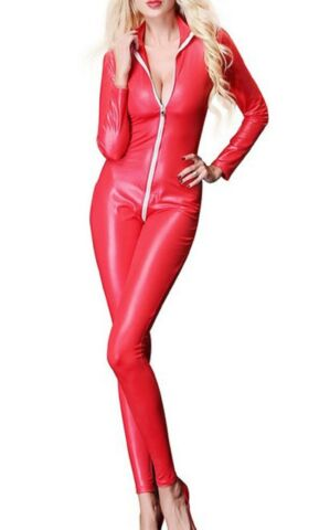 LATEX LEATHER LOOK RED CATSUIT JUMPSUIT 2 WAY CROTCH ZIP HIGH NECK