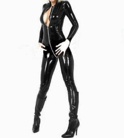 LATEX LOOK SEXY BLACK GLOSSY CATSUIT JUMPSUIT 2 WAY CROTCH ZIP LONG SLEEVES