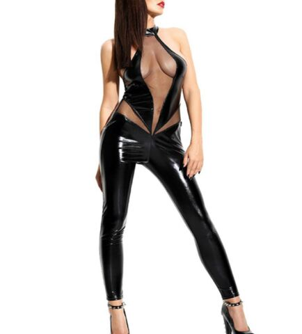 LATEX FAUX LOOK BLACK CATSUIT JUMPSUIT SEE THROUGH MESH FRONT HIPS LOW BACK
