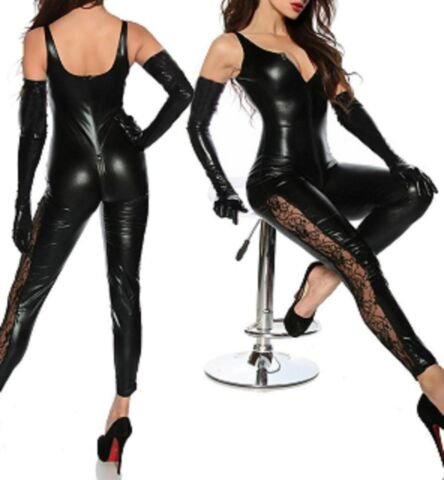 LATEX FAUX LOOK BLACK CATSUIT JUMPSUIT 2 WAY CROTCH ZIP LACE PANELS DOWN LEG