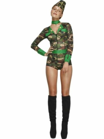 ARMY COMBAT CHICK UNIFORM LADIES FANCY DRESS HEN PARTY COSTUME OUTFIT ADULT SEXY