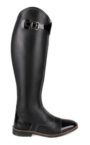 QHP DAMEN LUXUS LACKLEDER REITSTIEFEL NORAH JUNIOR POLO LOOK SCHWARZ