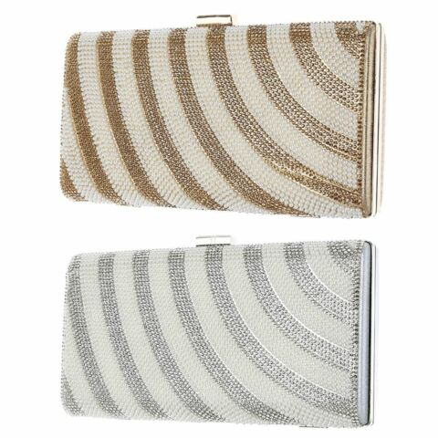 SHIMMER HARDCASE EVENING BAG WEDDING CLUTCH DIAMANTE PEARLS PARTY PROM HAND BAG