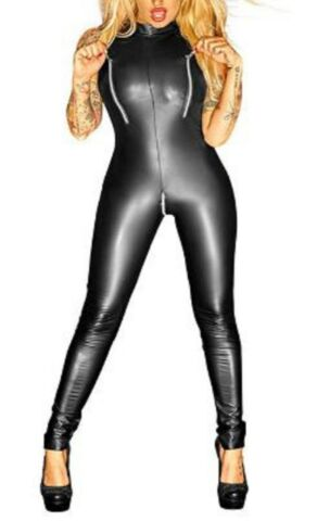 LATEX LOOK SEXY BLACK CATSUIT JUMPSUIT 2 WAY CROTCH ZIP ZIPS AT BUST SLEEVELESS