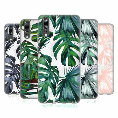 OFFICIAL NATURE MAGICK TROPICAL PALM LEAVES ON MARBLE GEL CASE FOR HUAWEI PHONES