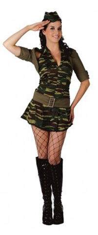 ARMY LADY CAMO MILITARY SOLDIER GI 80S SEXY DRESS OUTFIT 10 12 14 ONE SIZE NEW