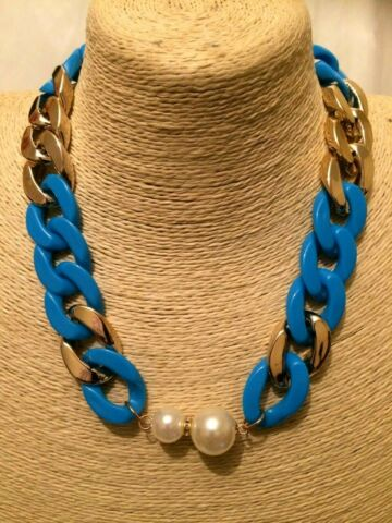 WOMENS STATEMENT BIG LARGE AQUA BLUE GOLD BEADED FAUX PEARL CHAIN NECKLACE