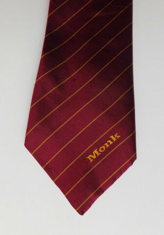 MONK VINTAGE CORPORATE TIE LOGO COMPANY WORK UNIFORM TRIAD SILK POLYESTER MIX
