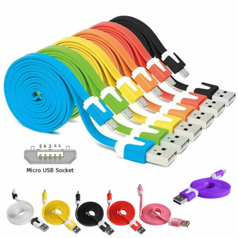 1 3M FLAT NOODLE MICRO USB CHARGER SYNC DATA CABLE F R TELEFON SAMSUNG AIP
