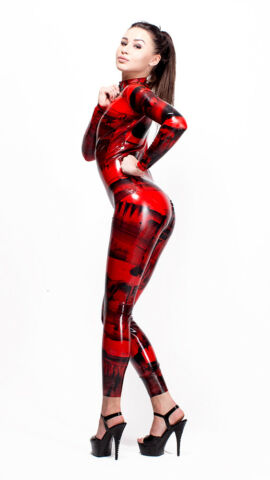 PATTERNED LATEX RUBBER CATSUIT EASY ON CHLORINATED