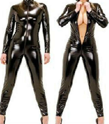 LATEX LOOK BLACK CATSUIT JUMPSUIT CROTCH ZIP LONG SLEEVES HIGH NECK FAUX LATEX