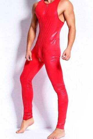 LATEX LEATHER LOOK MENS RED CATSUIT JUMPSUIT 2 WAY ZIP TO CROTCH SLEEVELESS