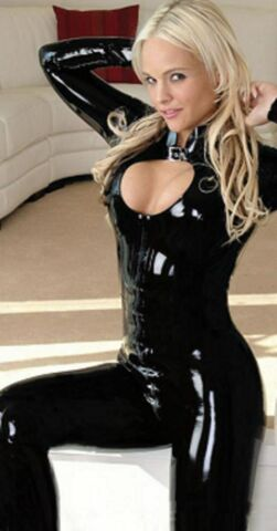 LATEX LOOK SEXY BLACK CATSUIT JUMPSUIT 2 WAY CROTCH ZIP HIGH NECK LONG SLEEVES