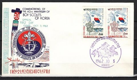 SOUTH KOREA SCOTT CAT 358 359 JUNGE SCOUTS JUBIL UM AUSGABE