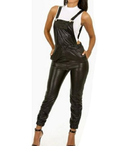 LATEX LOOK BLACK DUNGAREES CATSUIT JUMPSUIT BIB AND BRACES SILVER CLASPS