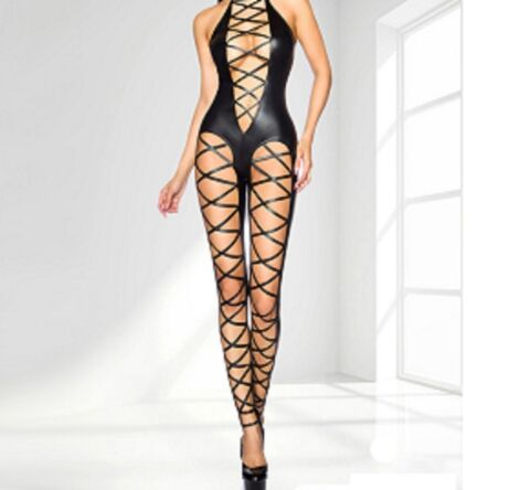 LATEX FAUX LOOK BLACK CATSUIT JUMPSUIT CUT AWAY SHOULDER CRISS CROSS DESIGN