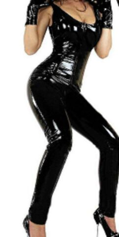 LATEX LOOK SEXY BLACK CATSUIT JUMPSUIT 2 WAY CROTCH ZIP