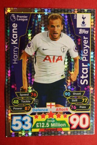 TOPPS MATCH ATTAX PREMIER LEAGUE 2017 2018 N 306 KANE TOTTENHAM MINT