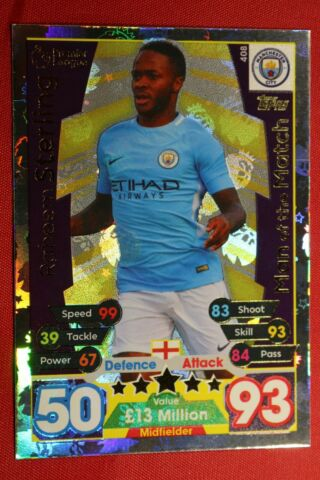 TOPPS MATCH ATTAX PREMIER LEAGUE 2017 2018 N 408 STERLING TOP MINT