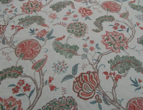SANDERSON CURTAIN FABRIC PALAMPORE 3 4 METRES 340CM GREEN RED 100 LINEN