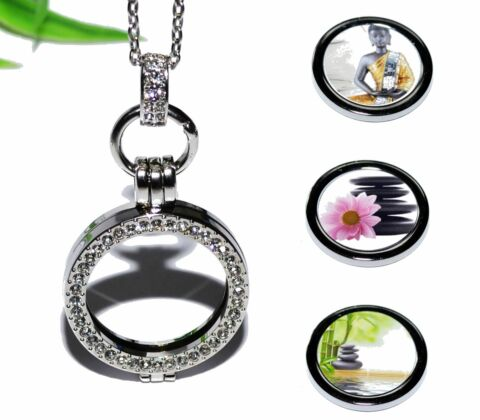 YOGA ENTSPANNUNG BUDDHA COIN MEDAILLON KETTE ANH NGER STRASS M NZE HALSKETTE