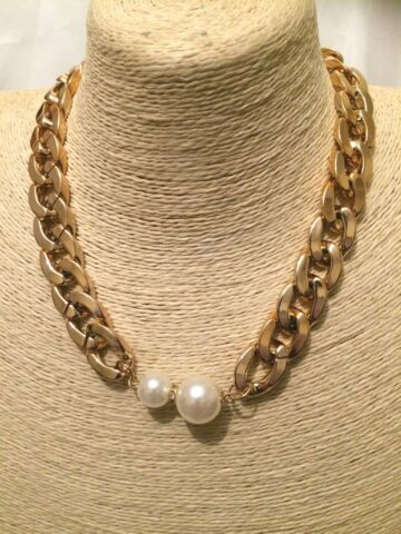 WOMENS STATEMENT GOLD BEADED FAUX PEARL BIG LARGE BIB COLLAR CHAIN NECKLACE