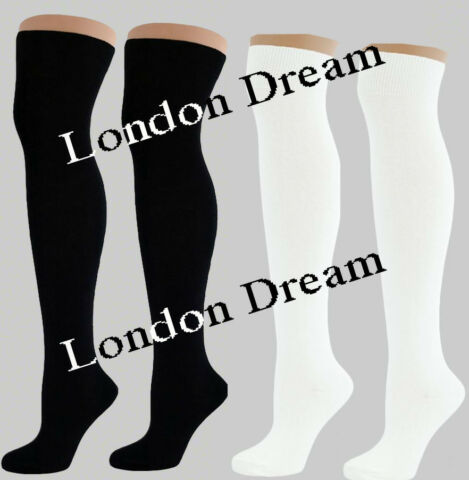 WOMEN LADIES GIRLS OVER KNEE HIGH LENGTH LONG COTTON SOCKS SCHOOL UNIFORM SOCKS