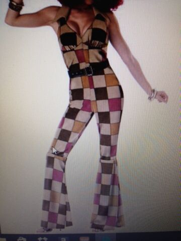 WOMENS SEXY 1960S 1970S CATSUIT AUSTIN POWERS PATCHWORK FANCY DRESS OUTFIT